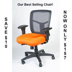 Orange Cushion, Mesh Back Chair