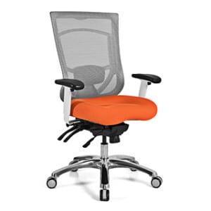 Mesh Back Office Chair - Orange Cushion