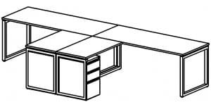 open plan double desk diagram