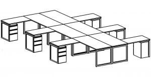 open plan 6 desk diagram