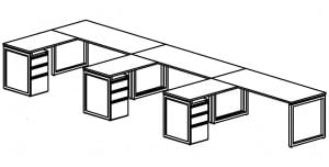 open plan 3 desk diagram