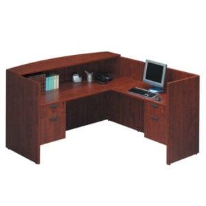 L Desk Reception, Office, 2 Drawer, Small Hutch Storage, Denver Metro