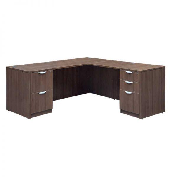 standard L shaped desk - deluxe files
