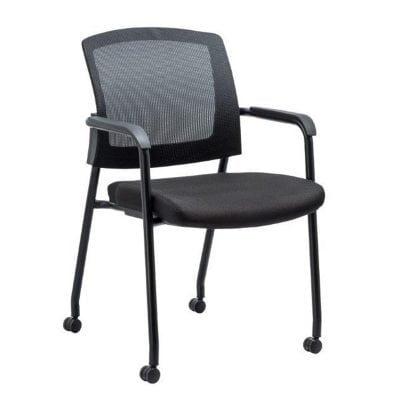 Mesh Back Stacking Guest Chair Black Casters Denver Metro