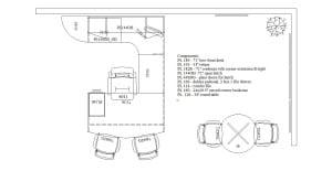 U Desk with Hutch, Bookcase & Round Table Diagram