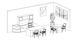 U Desk with Hutch, Bookcase & Round Table Diagram