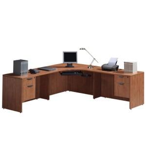 Large Corner Workstation, Two 2-Drawer Files