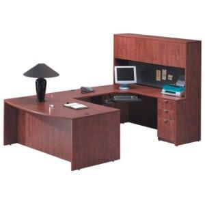 Exec Bowfront U Desk, Hutch