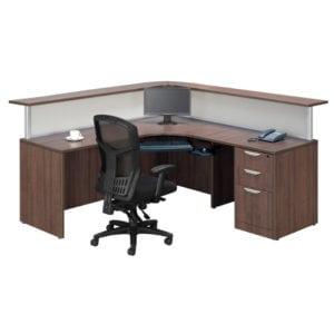 Reception L Desk Stylish Glazed Panels