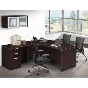 Bow Front L Desk, Deluxe File, Overhead Storage