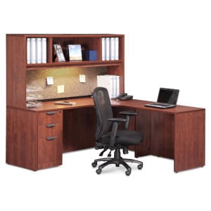 L Desk, Deluxe File, Hutch - Glass Doors