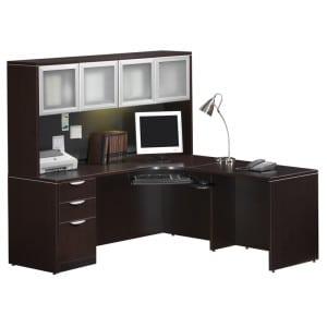 L Desk, Deluxe File, Hutch - Glass Doors