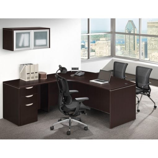 L Desk Overhead Storage Bow Front Deluxe File