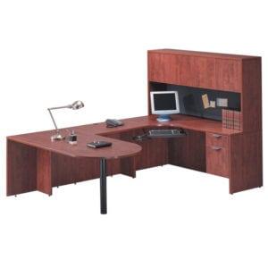 Bullet U Desk, Closed Hutch