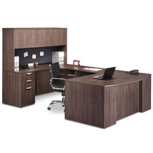 Step Front U Desk, Closed Hutch