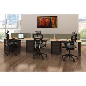 open office desk set collaborative workspace