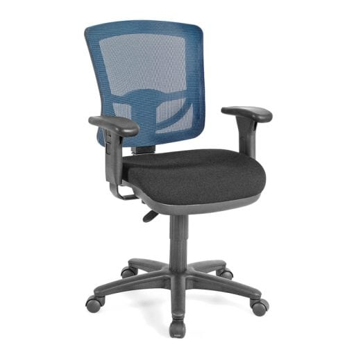 blue mesh back office chair with wheels