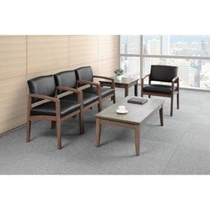 Black Leather Reception Chair Set