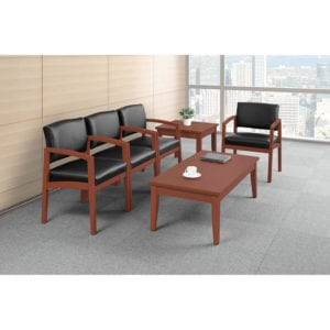 Cherry Leather Waiting Room Chair Set