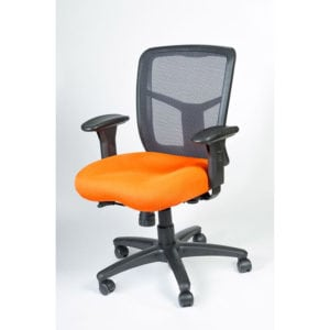 Orange Padded Mesh High Back Office Chair with Arms and Wheels
