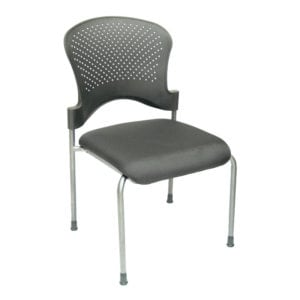 Plastic Back Fabric Seat Stacking Chair in Black Denver Metro