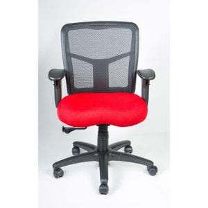red office chair mesh back