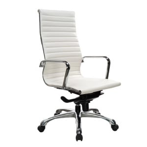 European Style Leather High-Back Chair - White
