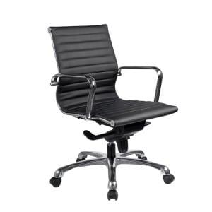 European Style Leather Medium-Back Chair - Black