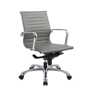 European Style Leather Medium-Back Chair - Grey
