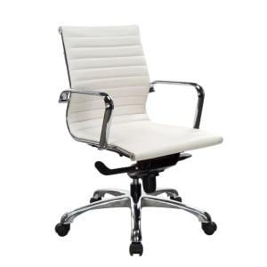 European Style Leather Medium-Back Chair - White