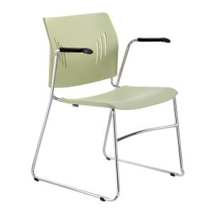 Poly Chrome Stacking Chair With Arms in Black, Blue, or Green Denver Metro