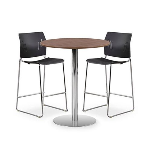 Café Height Round Table, Brushed Steel Base