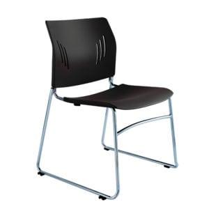 Chrome Stacking Chair - Black