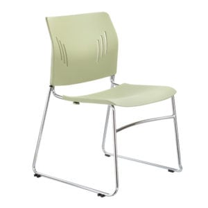 Chrome Stacking Chair - Green