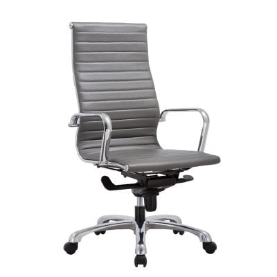 Leather Euro Style High Back Chair in Gray, White, and Black, Denver Delivery