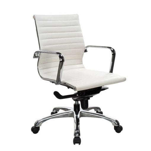 Euro Style Leather Medium Back Chair in White, Gray, Black, Denver Delivery
