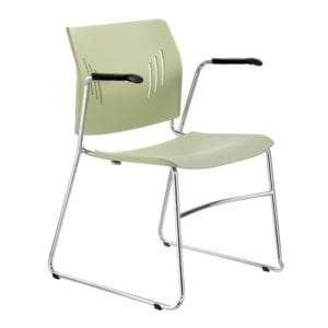 Poly Chrome Stacking Chair Arms - Green