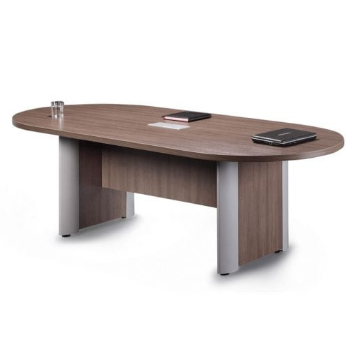 Racetrack Table, Silver Accent Base, 8-12 ft