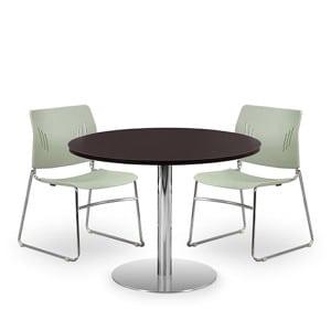 Versatile Round Table, Brushed Steel Base - Espresso