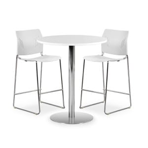 Café Height Round Table, Brushed Steel Base - White