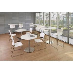 Versatile Round Table, Brushed Steel Base - White
