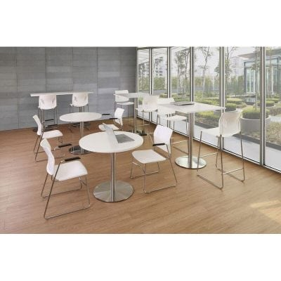 Versatile Round Table, Brushed Steel Base
