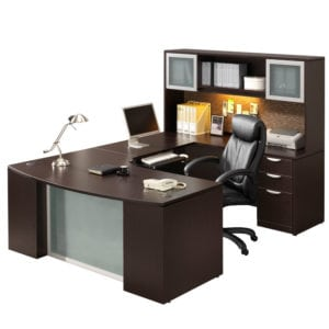Office Desk, Modern U with Glass Accents
