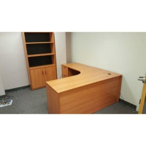 Used Honey L Desk, Bookcase with Storage