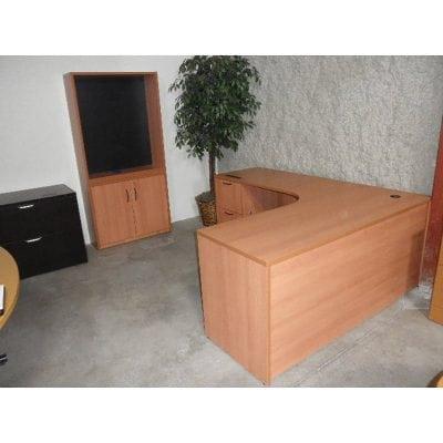 honey L desk bookcase with storage