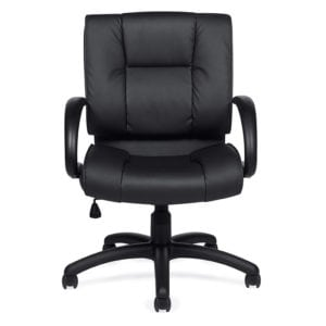 Plush Manager Mid Back Leather Office Chair Black - Denver Metro