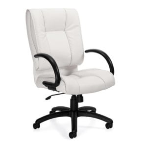 Plush Manager High Back Leather Office Chair - White