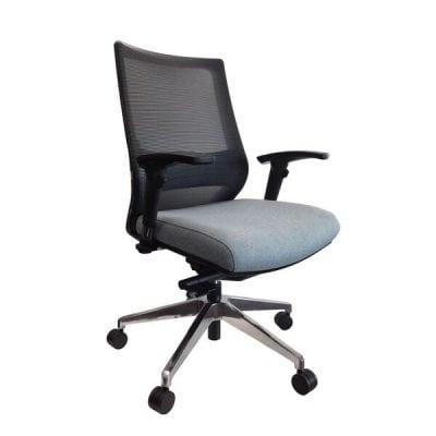 Black Mesh Back Office Chair with Arms and Wheels - Side View
