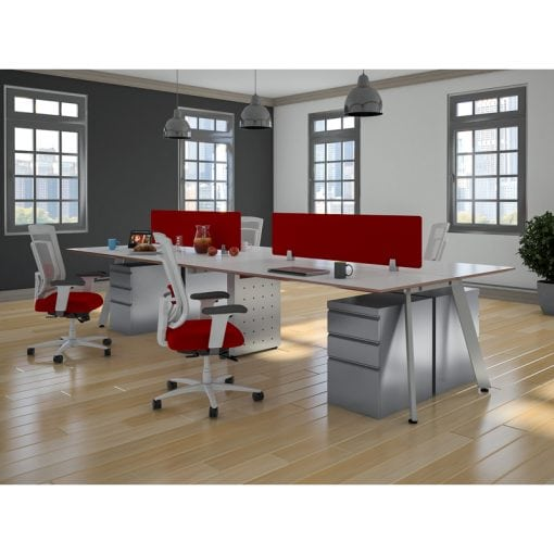 White Shared Open Plan Workstation V-Leg