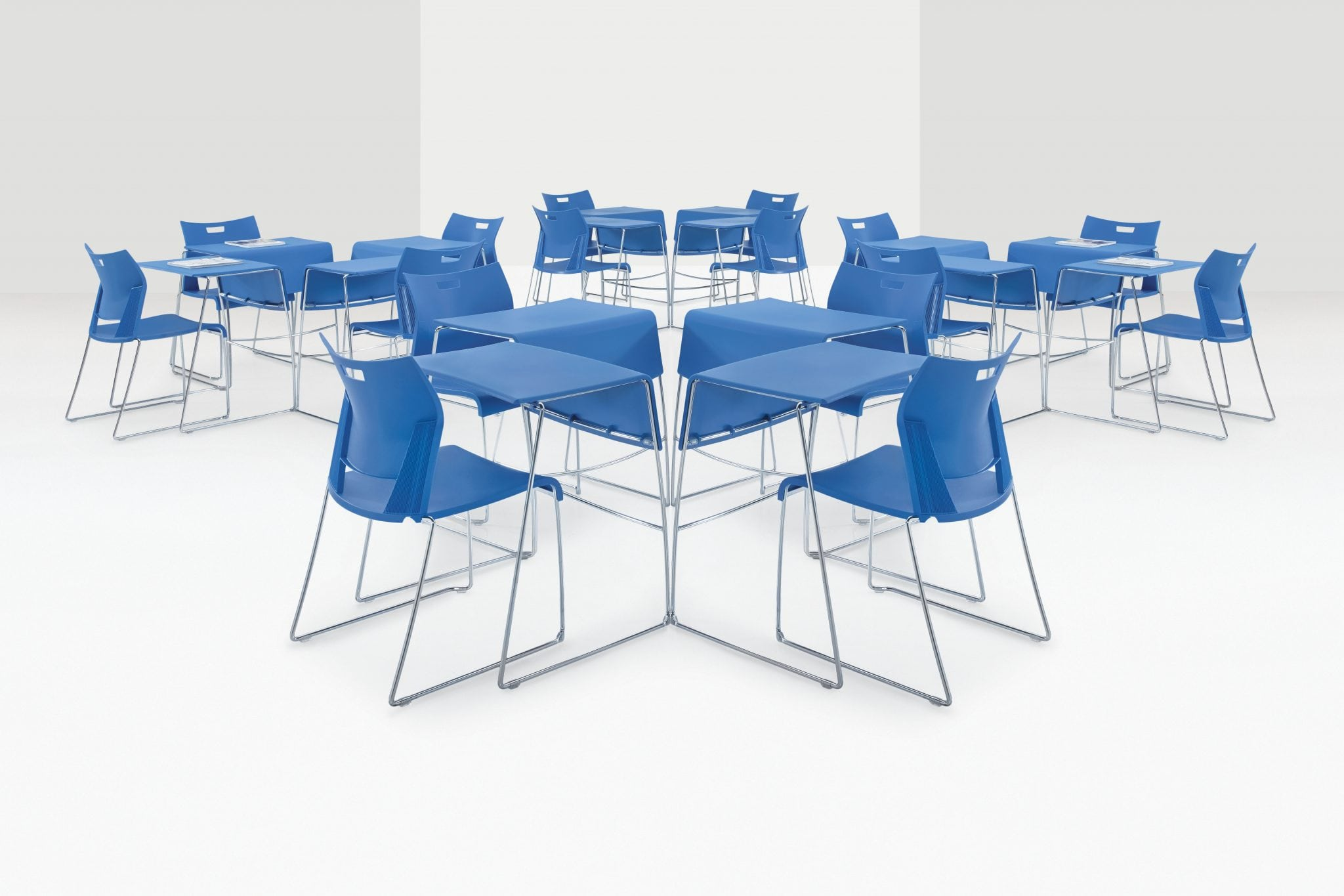 The Duet Tables - easy to stack and store, great for a meeting and eating space